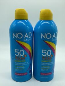 NO-AD Kids Sunscreen Spray SPF 50 8.7 oz Lot of 2 Exp 11/2022