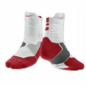Nike Dry Hyper Elite Cushioned Quarter Basketball Dri-Fit Socks Red & White