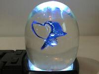 Monte Dunlavy Studio Artist Hand Signed Blue Wave Paperweight Art Glass