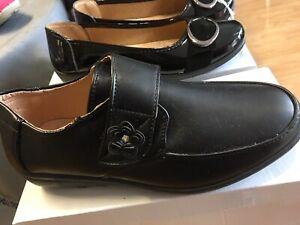 New Ladies Flat Black Faux Leather Shoes Strap Work Cushion Lite Size 3 4 5 6 7