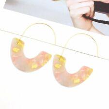 Women Bohemian Acrylic Resin Round Hoop Earrings Tortoise Shell Leopard Colorful
