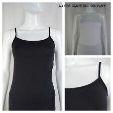 M&S Black or White Strappy Slinky Vest Cami Top Mesh Trim Sizes 8-22