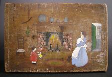 "Primitive ""Fireplace Scene"" Folk Art Painting On Cutting Board, Dorothy Davis"