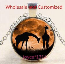 Vintage Giraffe Cabochon Tibetan silver Glass Chain Pendant Necklace #6272