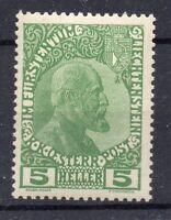 FRANCOBOLLI 1912 LIECHTENSTEIN EFFIGIE 5 HELLER D 07774 MLH
