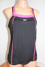 New Speedo Fit Swimsuit Bikini Tankini 2 piece Set Sz 10 Black/ Power Pink