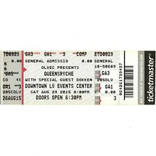 Queensryche & Dokken Concert Ticket Stub Las Vegas 8/29/15 Downtown Events Ctr