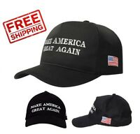 US Seller! MAGA Embroidered Make America Great Again Flag Hat in Black