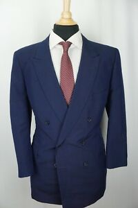Cyril A. Castle Bespoke Savile Row London Blue DBL Breasted Suit Sz 40R