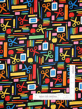 School Teacher Art Supplies Cotton Fabric Robert Kaufman Back To School - Yard