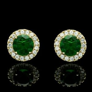 2.50CT Round Cut Halo Green Emerald Diamond Stud Earrings 14K Yellow Gold Finish