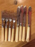 4 Sets Vintage Mappin EPNS Silver Plated Fish knives and Forks Faux Bone Handle