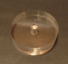 "New 3"" Diameter Clear Round Acrylic Lamp Break Base w/ Center Hole, No Wire Way"