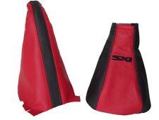 """Engranaje & Freno De Mano Polaina Para Vauxhall Corsa C 00-06 Negro Rojo De cuero con el logotipo """"SXI"""""""