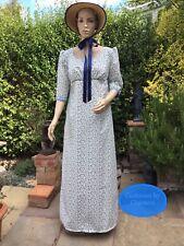 Regency Dress, & Bonnet, Jane Austen, 3/4 Sleeves, Cotton, Size 16, Free P&P