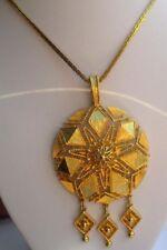 Grand collier chaîne couleur or superbe bijou vintage pendentif pampilles 749