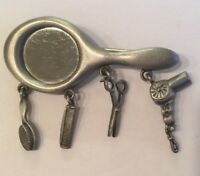 VINTAGE JJ JONETTE JEWELRY MIRROR CHATELAINE BROOCH PIN PEWTER SIGNED HAIRDRESSE