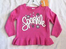 NEW Girls Sz 18 24 mo Gymboree Sweater Pink Sparkle Peplum 2017 Woodland Weekend