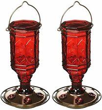 More Birds (2 Pack) Hummingbird Feeder Vintage Red Antique Glass Bottle 20-Ounce