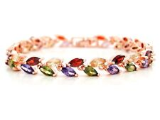 Authentic rose gold plated bracelet sparkling rainbow marquise gems jewelry box