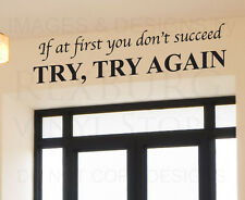 Wall Decal Quote Sticker Vinyl Lettering Decorative Try Until You Succeed IN32