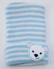 Blue and White Knit Newborn Hospital Hat with Polar Bear Felt - Photo Prop 9052