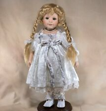 "Camelot Porcelain Girl Doll 18.5"" Blond Braids Green Eyes Eyelashes Freckles"