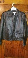 CROFT & BARROW Black Soft Lambskin Leather Zip Pockets Jacket Women M Medium