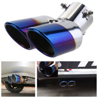 63mm Universal Blue Burnt Car SUV Rear Exhaust Dual Muffler Pipe Tip Tail Throat