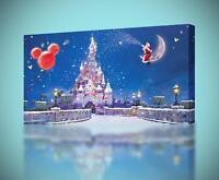 Disney Castle Christmas CANVAS PRINT Home Wall Decor Giclee Art Poster CA556