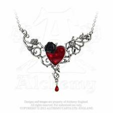 Alchemy England The Blood Rose Heart P721 Black Rose Read Heart Necklace