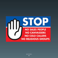 SKU68 Stop Cold Calling Door Sticker No Canvassers Callers Religious Groups Sign