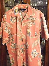 Ralph Lauren POLO RARE L VTG lookn old Hawaii Shirt S/S Hawaiian Peach Cot Linen