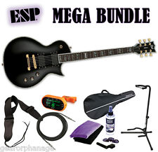 ESP LTD EC-1000 Deluxe Series Black BLK *NEW* EC1000 EC-1000 EMG - MEGA BUNDLE 2