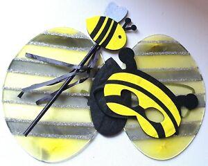 NEW Bumble bee wings wand mask set yellow black child fancy dress costume book
