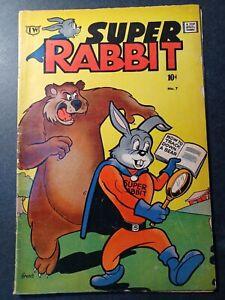 Super Rabbit #7 1963 Timely Reprint captain america Comic Book cameo rare VG+