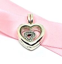 Genuine Pandora Floating Heart Locket With CZ Heart Pendant