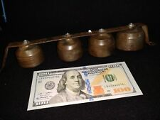 Pole Ice Cream Pony Harness Horse Shaft Bells 4 Antique Brass Graduated Chimes