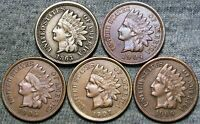 1863 1905 1904 1907 1909 Indian Cent Penny ---- Nice Lot ---- #G078
