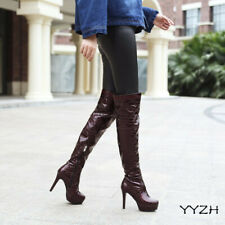 12CM High Heel Stilettos Pointed Toe Platform Over The Knee Boots Patent Leather