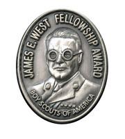 BSA Boy Scout James E West Fellowship Award Silver Level Pin Donation $5,000 New