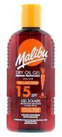 2 x Malibu Dry Oil Gel SPF 15 Added Carotene 200ml Each Medium UVA UVB Sunscreen