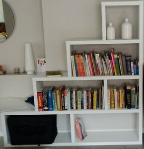 AMART Fully Assembled White Display Cube Unit For Ornament Bookshelves