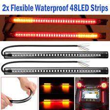 "2Pcs 8"" Motorcycle 48 LED Integrated Brake Stop Turn Signal Tail Light Strip Bar"