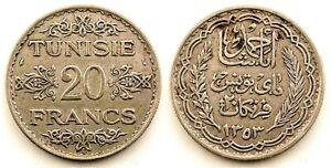 Túnez- 20 Francos 1934 A. París. Protectorado francés. EBC-/XF- Plata 20 g.