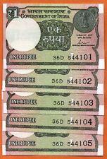 Lot 5pcs Bundle 2015-17 India 1 Rupee Indian Currency UNC Serial Bank Notes set