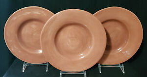 "POTTERY BARN (3) Salad Plates SAUSALITO 9-7/8"" spice / terracotta MINTY!"