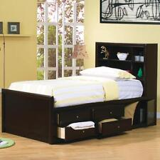 TWIN CAPPUCCINO CAPTAIN'S BED UNDER BED DRAWER STORAGE YOUTH BEDROOM FURNITURE