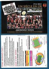 carte PUB du STADE TOULOUSAIN - 1 siècle en OR 1912-2012 - Rugby Rouge & Noir
