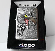 ZIPPO accendino Eagle Head con emblema Street Chrome Adler tra uccelli NUOVO OVP